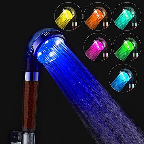 Amztm dimensione universale spa soffione doccia arcobaleno negative ions 7 colori che cambiano luce a led filtro al cloro ugello per vasca