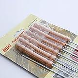 Ouken Barbecue Spieße Marshmallow Röst Stäbchen Holz Griff Hot Dog Gabel für BBQ Camping Lagerfeuer 12 Stück - 4