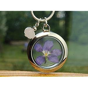 Veilchen Kette echte Blüten Medaillon mit Blüten gefüllt