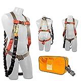 Madaco Dachbau Fallschutz Ganzkörper-Industrie Sicherheitsgurt Interne stoßabsorbierendes 6FT Lanyard Kit Größe M-XXL ANSI OSHA Combo A Orange