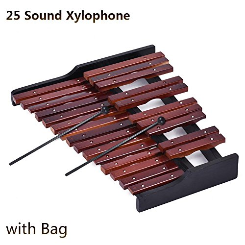 Househome Xylophone, 25 Notes Board Wooden Xylophone Percussion Orff Educational Musical Instrument Gift with 2 Mallets for kids