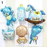 jhtceu 6 Stück/Set Engel Baby Shower Folienballons Kinder Junge Mädchen Geburtstag Party Dekoration blau