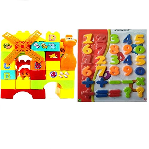 Combo of 35 pcs. Building Blocks with Educational Magnetic Numbers (Capital Letters : Size Big)