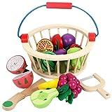 iVansa Holz Gemüse Spielzeug, 12er Set Schneiden aus Holz Küchenspielzeug Lebensmittel Kinderküche, Obst Spielküche Küchenspielzeug Essen Magnetische Holzspielzeug, für Kinder Jungen Mädchen ab 3 4 5