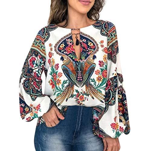 MRULIC Frauen Retro Bluse Lässige V-Ausschnitt Lange Laterne Ärmel Gedruckt Lose Top Bluse Damen(Weiß,EU-34/CN-S) (Rot Und Weiß Gestreiftes Shirt Ziel)