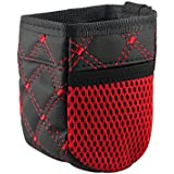XMDZ Mini Sac Pochette de Rangement à Grille d'aération Voiture Organisateur avec Poches Latérales pour Téléphones portables Clés Stylos Monnaie Cartes de Crédit Gadget, Rouge
