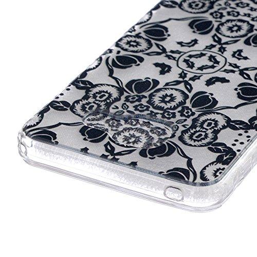 iPhone SE 5 5S Coque (2016 Model)-Linvei TPU Silicon Gel Housse Transparent Case Étui Case Cover for iPhone SE 5 5s Black Flower Totem #4