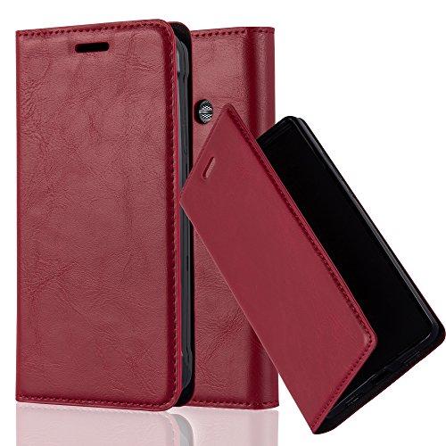 Cadorabo Hülle für Samsung Galaxy XCOVER 3 - Hülle in Apfel ROT – Handyhülle mit Magnetverschluss, Standfunktion und Kartenfach - Case Cover Schutzhülle Etui Tasche Book Klapp Style
