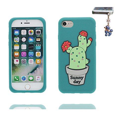 iPhone 7 Plus Custodia, morbida guarnizione TPU in gomma antigraffio protettiva Case copertura per iPhone 7 Plus 5.5 Cover + tappi antipolvere / Cartoon Progettato 3D cactus Thorns rosso verde