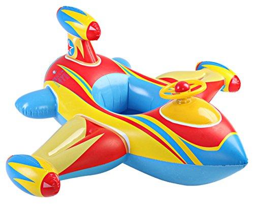 MARRYME Salvagente Gonfiabile Piscina Bambino Lettino Forma Elicottero Aereo Swim Anello Estate Diametro 100cm (Azzurro)
