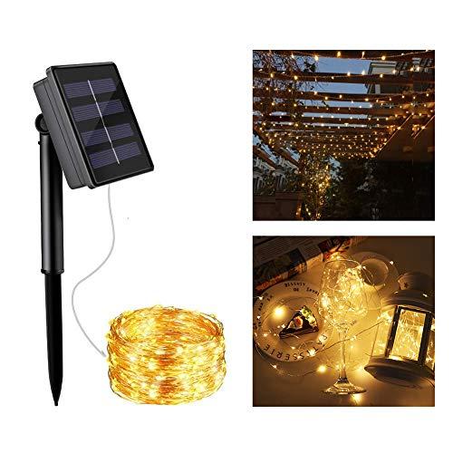 Abree SolarLichterketteAussen Warmweiss 10 m 100 LedLichterketteSolarAußen Outdoor Solar Lichterkette Kupferdraht für Weihnachten Partys Garten Hochzeiten Dekoration