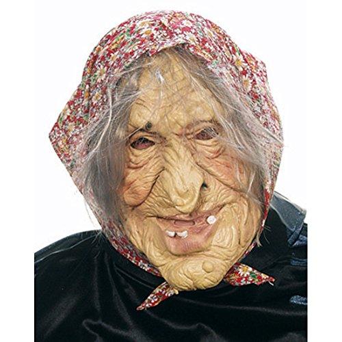 ske Horrormaske Hexen Maske Oma Masken Alte Dame Walpurgisnacht Hexe Halloween Halloweenmaske Kostüm Accessoires ()