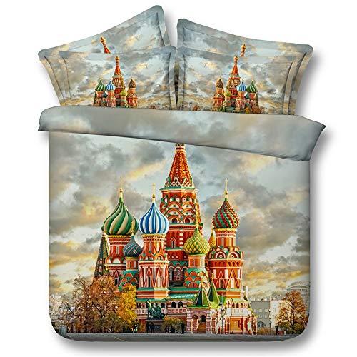 Ruixinshi 3pcs Duvet Cover Sets, HD Digital 3D Polyster Reactive Print Bedding Set,Russian City, Queen Weihnachten Neujahr Betten - City Queen-bett