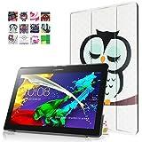 DouKou Lenovo Tab 2 X30F A10-30 Funda, Ultra Slim Ligera Smart-cáscara Cuero Case, Carcasa con Stand Función y Auto-Sueño/Estela para Lenovo Tab 2 X30F A10-30 (No es compatible Lenovo Tab 2 A10-70) Android Tablet pulgadas (Owl)