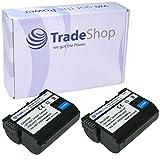 2x Trade-Shop Premium AKKU 1900mAh ersetzt Nikon EN-EL15 passend für Nikon D500 D600 D610 D750 D850 D7000 D7100 D7200 D7500 D800 D800E D810 D810A D8000 Nikon 1 V1, Batteriegriff MB-D11 MB-D12 MB-D14 MB-D15 MB-D17 Batterieladegerät MH-25 MH-25a