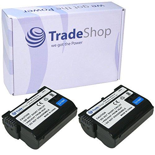 2x Trade de Shop Premium Batería 1900Mah, equivalente a Nikon EN-EL15para Nikon D500D600D610D750D850D7000D7100D7200D7500D800D800E D810D810A D8000Nikon 1V1, empuñadura de batería MB-D11MB-D12MB-D14MB-D15MB de D17Cargador de batería Ni-MH de 25MH de c-25a