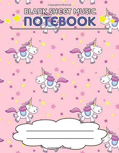 Blank Sheet Music Notebook: Wide Staff Manuscript Paper Notebook, 8 Large Staves Per Page (Pink Unicorns, Stars) -