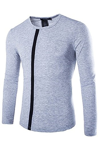 BOMOVO Herren Langarm Fashion Freizeit Spleiß Langarm Shirt Slim Fit Grau