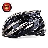 KING BIKE Fahrradhelm Herren Damen Erwachsene Rennrad Sicherheit Hinten mit Licht Einstellbare Größe(Schwarzes Titan)