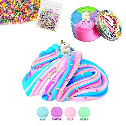 ESSENSON DIY Fluffy Schleim - 4 Farben Unicorn Jumbo Floam Cloud Bunter Regenbogen Slime Stress Relief Toy für Kinder und Erwachsene Weich, dehnbar und Nicht klebrig