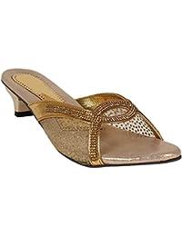 Footshez Women's Golden Heel Sandal