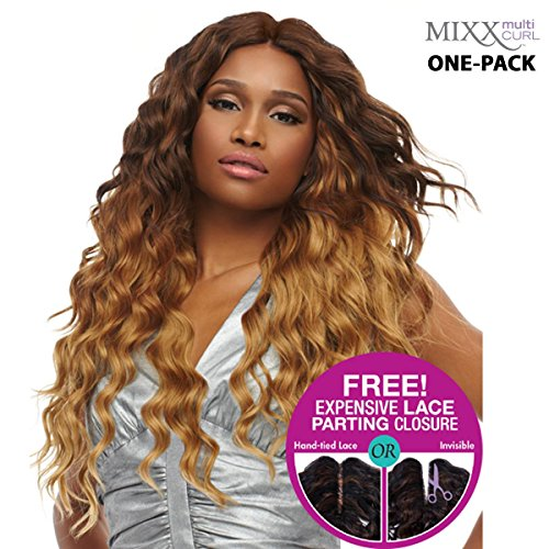 [4 mèches Pack complet + Closure] sensationnel mural XL Mixx – Egyptian Wave – Human Hair Blend Weave (One Pack Complete)