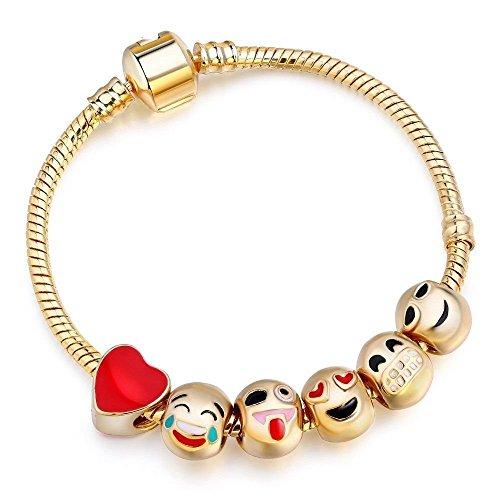 (Gold 6Emoji-Perlen Schlange Charm Europäisches Armband 20cm)