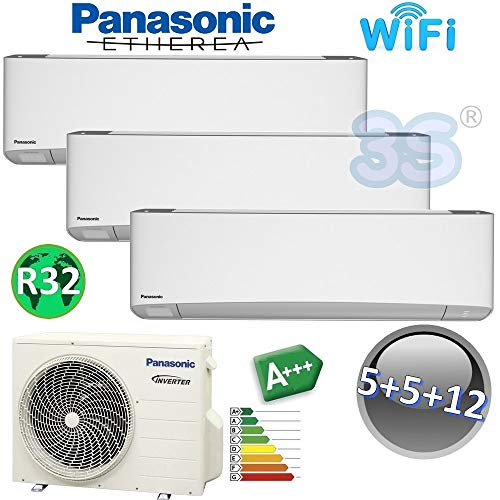 TRIO Split raum gerät R32 ETHEREA PANASONIC Klimaanlage WiFi 1,6+1,6+3,2 KW
