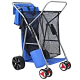 Best Choice Products Deluxe Folding Utility Beach Cart w/ Removable Bag, All-Terrain Rear