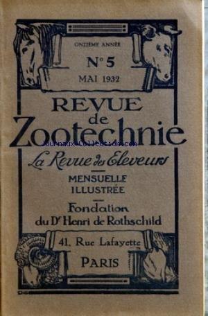 REVUE DE ZOOTECHNIE (LA) [No 5] du 01/05/1932