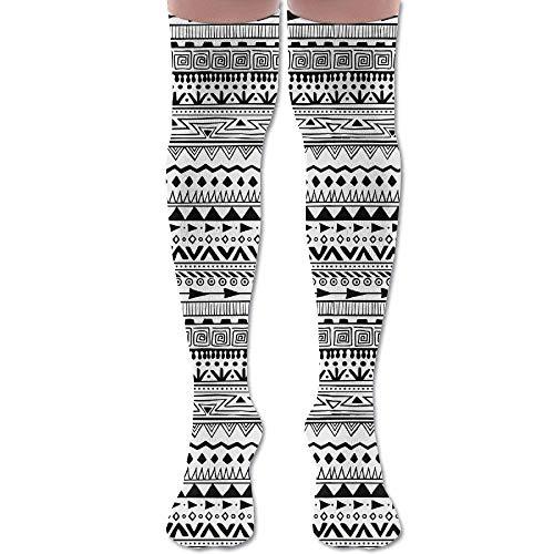 Not afraid Black and White Fringes Vectorgraph Unisex Knee High Long Socks Boot High Socks Length 50CM -