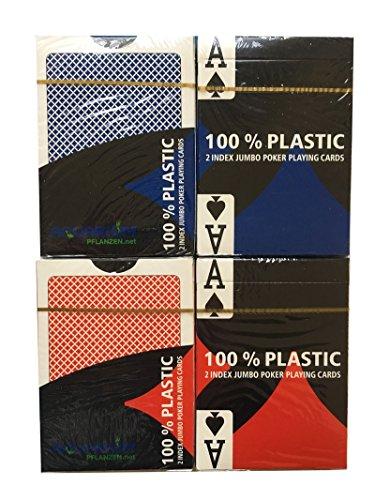 Preisvergleich Produktbild 4 x 100% Plastikkarten, Pokerkarten, Poker, Großer Index, 2 Symbole + Cutcard