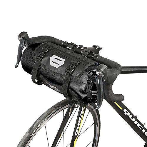 Roswheel 100% Wasserdicht Fahrradlenkertasche Einstellbarer Volumen 3L bis 7L Fahrradtasche für den Lenker Aufrollbare Öffnung Lenkertaschen Φ15 x H40cm aus Polyester mit Fahrradfrontlicht Schnittstelle und Sport Kaltes Handtuch (Schwarz)