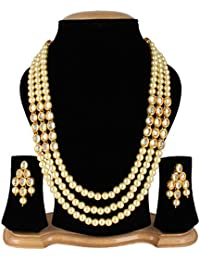 Quail Fashion Jewellery Gold Plated Kundan 3 String Necklace Set For Women Traditional Wedding With Earings
