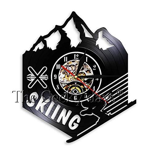TTZSE Moderne Ski Schlitten Vinyl Schallplatte Wanduhr Sport Thema Klassische Uhr Dekoration