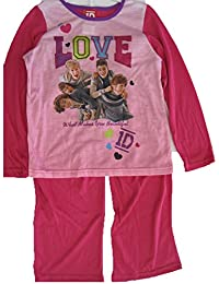 1D Big Girls Pink Fuchsia One Direction Band Print 2 Pc Pajama Set 8-10
