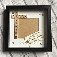 """Daddy Daughter Personalised Scrabble Photo Frame (9x9"""") Created by CleverCHIC"""