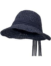 ililily Raffia Paper Big Brim Sun Hat Ribbon Summer Cool Floppy Hat