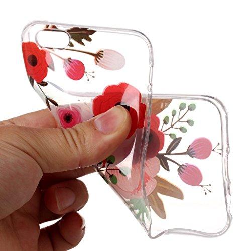 Per iPhone 6 Plus / iPhone 6s Plus Cover , YIGA Fiori a righe Cristallo Trasparente Silicone Morbido TPU Case Shell Caso Protezione Custodia per Apple iPhone 6 Plus / iPhone 6s Plus (5,5 pollici) XS76