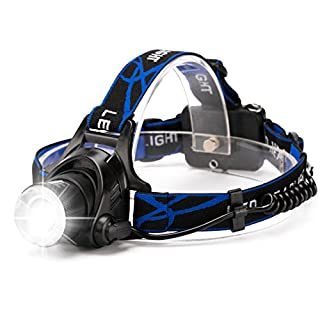 Zooomable LED Head Torch Headlamp, HFAN 800 Lumens Head Torches with 3 Light Modes for Camping, Riding, Running, Walking The Dog, Fishing, Hunting, Reading,Car Repairing ect