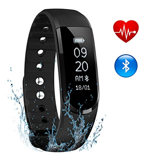 Pulsera Actividad OMORC, Monitor de Actividad Bluetooth,Monitor de Ritmo Cardiáco, Resistente al Agua Sumergible IPx7, Monitor de Sueño, Podómetro, Control Remoto de Móvil para iOS 7.1 o Superior (Negro)