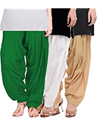 Crafts 100% Pure Solid Cotton Semi Patiala Salwar Bottoms Indoor Outdoor For Women's & Girls( Color Green / White...