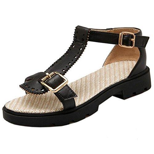 COOLCEPT Damen Mode T-Spangen Sandalen Niedrig Absatz Open Toe Schuhe Gr Schwarz