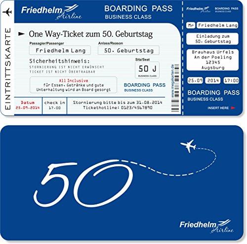 Einladungskarten zum Geburtstag als Flugticket mit Abriss-Coupon Blau 60 Stück