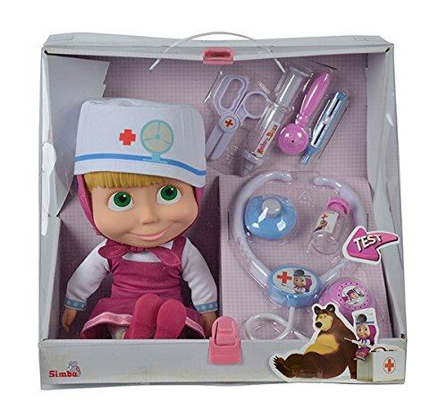 Simba 109306542 - Mascha und der Bär - Mascha Weichkörperpuppe als Doktor mit Zubehör Preisvergleich