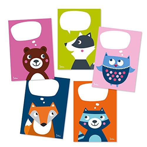 Julica Postkarten Set Wald-Tiere | Kinder Postkarten-Set zum Selbst Beschriften | Bunt