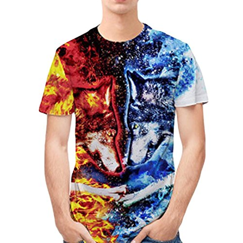 ZARLLE Camisetas Hombre Originales Manga Corta Hombre Doble Lobo...