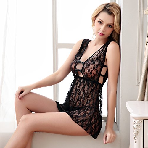lpkone-Percé Sexy dentelle translucide rupture retour beauté robe chemise lingerie sexy girl, Black code Black