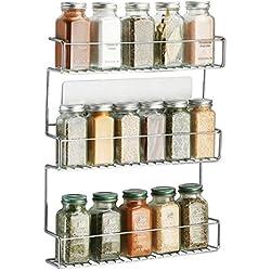 mDesign rangement épices à coller - range épices en métal avec trois niveaux - porte épices pratique et sans perçage - argent