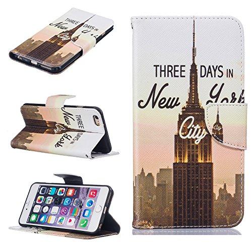 Coque pour Apple iPhone 5 5S 5SE,Housse en cuir pour Apple iPhone 5 5S 5SE,Ecoway 3D motif de couleur peint en relief étui en cuir PU Cuir Flip Magnétique Portefeuille Etui Housse de Protection Coque  New York 01